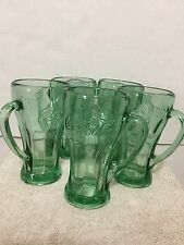 5 Coca Cola Heavy Embossed Soda Fountain Green Glass Mug Vintage Libby Coke LOT