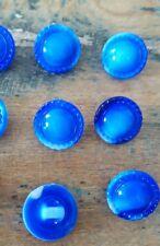 ♥20 Stück tolle alte Glasknöpfe blau opak DM 13,5 mm ♥