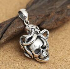Cráneo de plata esterlina 925 Collar Colgante Pulpo + Gratis Cadena de Acero * Reino Unido STOCK *