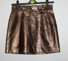 Glossy Bronze Look Leather H & M Zip Back Bow A-Line Mini Skirt Size 6 / 34 L 15