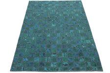 Orient Tapis Patchwork Vintage turquoise magnifique 240x160 noué à la main