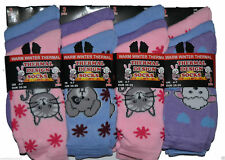 6 Pairs Women Ladies Thermal Warm Winter Socks Sheep Kitten Print Socks UK 4-7