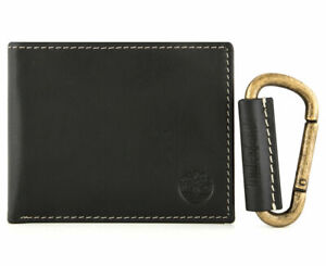 MENS TIMBERLAND BLACK BILLFOLD GENUINE LEATHER WALLET & KEY FOB GIFT BOXED SET
