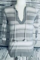 Ann Taylor Loft Women's XS Blouse 3/4 Sleeves Drawstring Striped V Neck