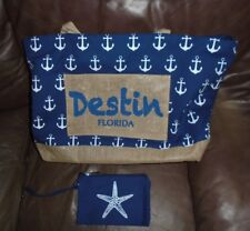 Shantie Large Beach Bag Destin, Florida Travel Bag Cotton Tote Anchor Euc