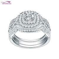 3pcs Wedding Engagement Ring Set For Women 925 Sterling Silver Round Cz Sz 5-12