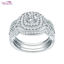 2ct Round White Cz Sterling Silver 3pcs Wedding Engagement Ring Set For Women