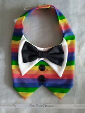 "Handmade Medium Dog Tuxedo/Bowtie - 13"" Collar - LGBTQA+/Rainbow/Pride"