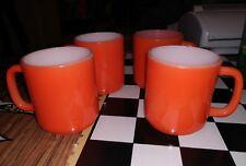 Vintage 4 orange milk glass stackable coffee mugs used