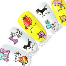 Nail Art Water Transfers Stickers Wrap Decals Funny Cute Cat Kitten Cartoon K008