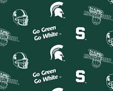 Package of Short Pieces Michigan State MSU Green 035 Fleece Fabric Print D004.10