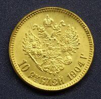 10 RUBLES 1904 Russia NICHOLAS II, 10 RUBLES GREAT NOVODEL GOLD COIN!