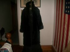 MONTEREY FASHIONS USA FAUX FUR LONG COAT BLACK W/COWL COLLAR WARM Womens MED EUC