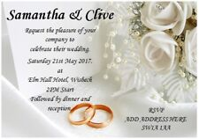 *****20 Personalised Wedding Invitations Day or Evening with FREE Envelopes*****
