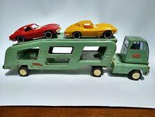 Mid-1960s mini Tonka Car Carrier Truck, Trailer & 2 Corvettes. (Model 96?)