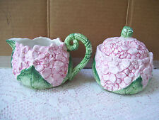 Rare Coci 1990 Hydrangea Raised Pink Flowers & Green Leaves Sugar Bowl & Creamer