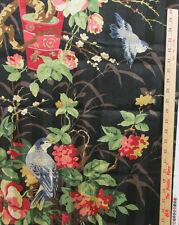 Richloom Fabric Black Stripe Screen Print Bird Floral Cameos 11 Pieces 9+ Yards