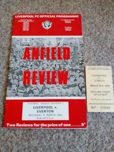 Liverpool v Everton 21.3.1970 - with ticket stub