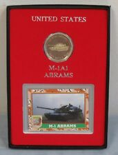 M-1 A1 Abrams Tank 1oz .999 Silver Round & Card Gift Boxed Colored Round