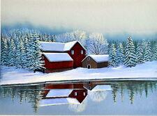 Winter Barn Scene Print 11 x 14 by Doug Walpus Water Landscape Wall Decor