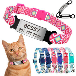Cat Breakaway Collar Personalised with Slide On ID Name Tag Safety Quick Release