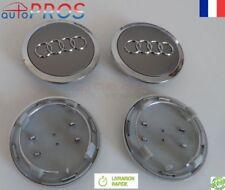 4 Centre de roue cache moyeu jante caps logo emblème Audi 69mm Gris  A4 A3 A6 A8