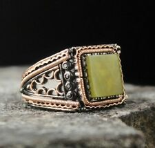 Turkish Handmade 925 Sterling Silver Yellow Amber stone Mens ring ALL SİZE usa