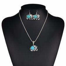 Ethnic Costume Jewellery Pendant Chain NECKLACE/ EARRINGS SET Turquoise Elephant