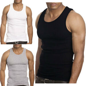 6 Pieces For Men 100% Cotton Tank Top A-Shirt Wife Beater Undershirt Ribbed