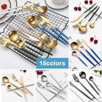 4Pcs/Set Stainless Steel Cutlery Gold Plated Dinnerware Knife Fork Spoon Kit New