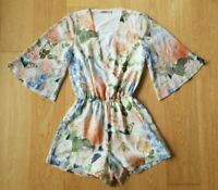 Thurley Size 8 Floral Butterfly Print Long Sleeve Flutter Playsuit