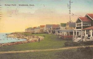 Kelsey Point Westbrook Connecticut 1929 hand colored postcard