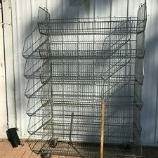 "Mobile Stacking Wire Storage Basket Display Unit On Wheels 47.5""W x 22"" D x 78""H"