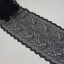 "1 Yard Pretty Floral Stretch Elegant Scallop Edge Lace Trim Black  8"" Wide"