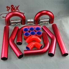 "Universal Turbo Boost Intercooler Pipe Kit 3"" 76MM Aluminum Piping Red 8 pcs"