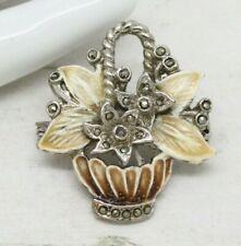 Beautiful Vintage Flower Basket Enamel & Marcasite Floral BROOCH Pin Jewellery