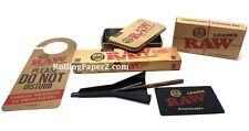 RAW Rolling papers Brand CONE FILLER+(32)KING SIZE CLASSIC CONES+Door Hanger+TIN