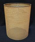 "Vintage WICKER WOVEN LAMP SHADE Fine Weave Cylinder 17 x 13"" TIKI Boho Chic"