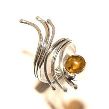 Amber Free Shipping Silver Plated Gemstone Ring Jewellery Gh3