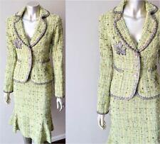 Boucle Tweed Vintage High Waist Mermaid Skirt Wool Green Jacket 2 Piece Suit S 2