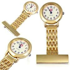Best Brand Vintage Silver Stainless Steel Nurses Pocket Quartz Fob Watch Gold GL