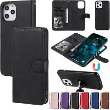 For iPhone 12 Pro 11 XR SE 8 7 6s Detachable Magnetic Leather Wallet Case Cover