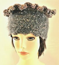 TALL TAUPE & GREY HAND CROCHETED KNIT CROWN BERET CAP TAM RASTA CLOCHE SLOUCHY