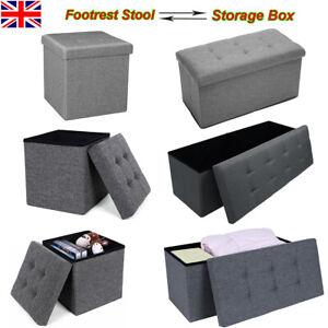 Large Grey Fine Linen Folding Storage Ottoman Pouffe Seat Foot Stool Storage Box