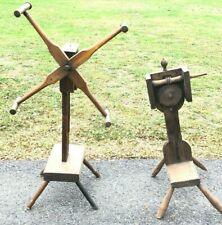 (2) Antique Spinning Wheel Yarn Winders - 1-Signed & c1850 - Some Restore