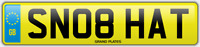 HATTIE SNOB NUMBER PLATE SN08 HAT CHERISHED CAR REG HATTY HATTON HATS NO FEES