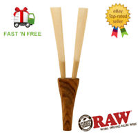 RAW Double Barrel Wooden Cigarette Holder w/ Carry Pouch Twin Cigarette Holder