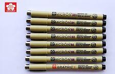 Lot 8 SAKURA Pigma Micron Pens Micro Pigment Ink Black Drawing Sketch