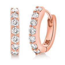 14k Rose Gold 0.50ctw Diamond Huggie Hoop Earrings