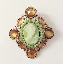 New Olive Green Vintage Style Crystals Diamond Shape Cameo Brooch Pin Gift B1154